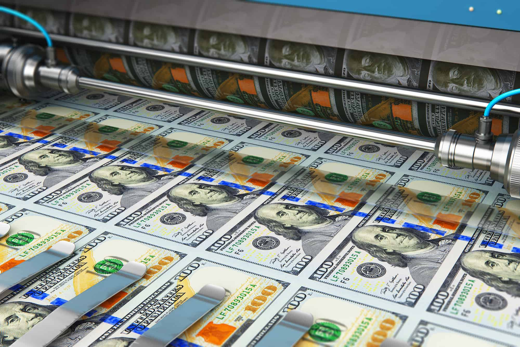 Fed printing money, sending stimulus checks and bailing companies out.